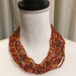 Jewelry - MULTI COLORED ORANGE BEADED NECKLACE NWOT